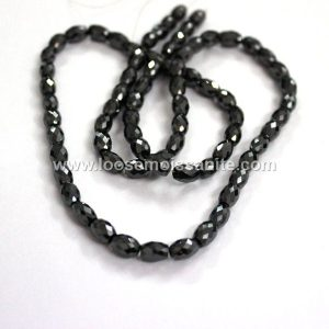 200 carat jet black color drum cut moissanite bead necklace