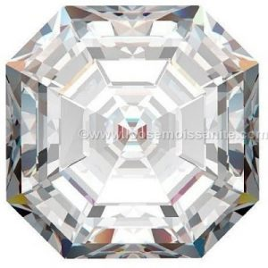 white color asscher cut loose moissanite