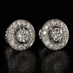 0.90 ct round moissanite earrings