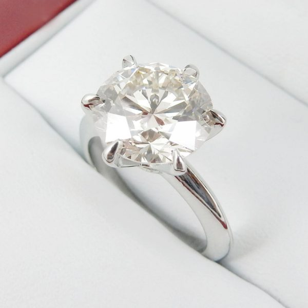 1.25 ct white round cut moissanite 6-prong solitaire wedding rings in 14.k white gold & 925 silver