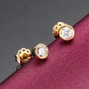 1 ct moissanite bezel earrings push back