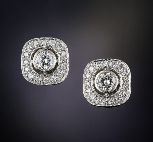 1 Ct Silver Halo Stud Earrings