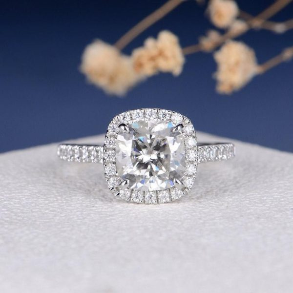 2.30 Ct Cushion Cut Halo Solitaire Engagement Ring White Moissanite 925 Silver