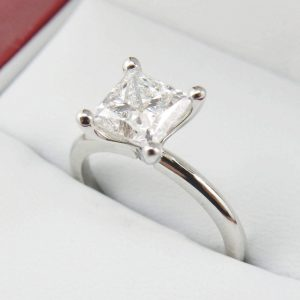 2 Carat Princess Cut Moissanite Ring
