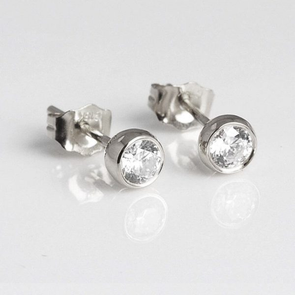 2.00 ct bezel set stud Fastening pushback