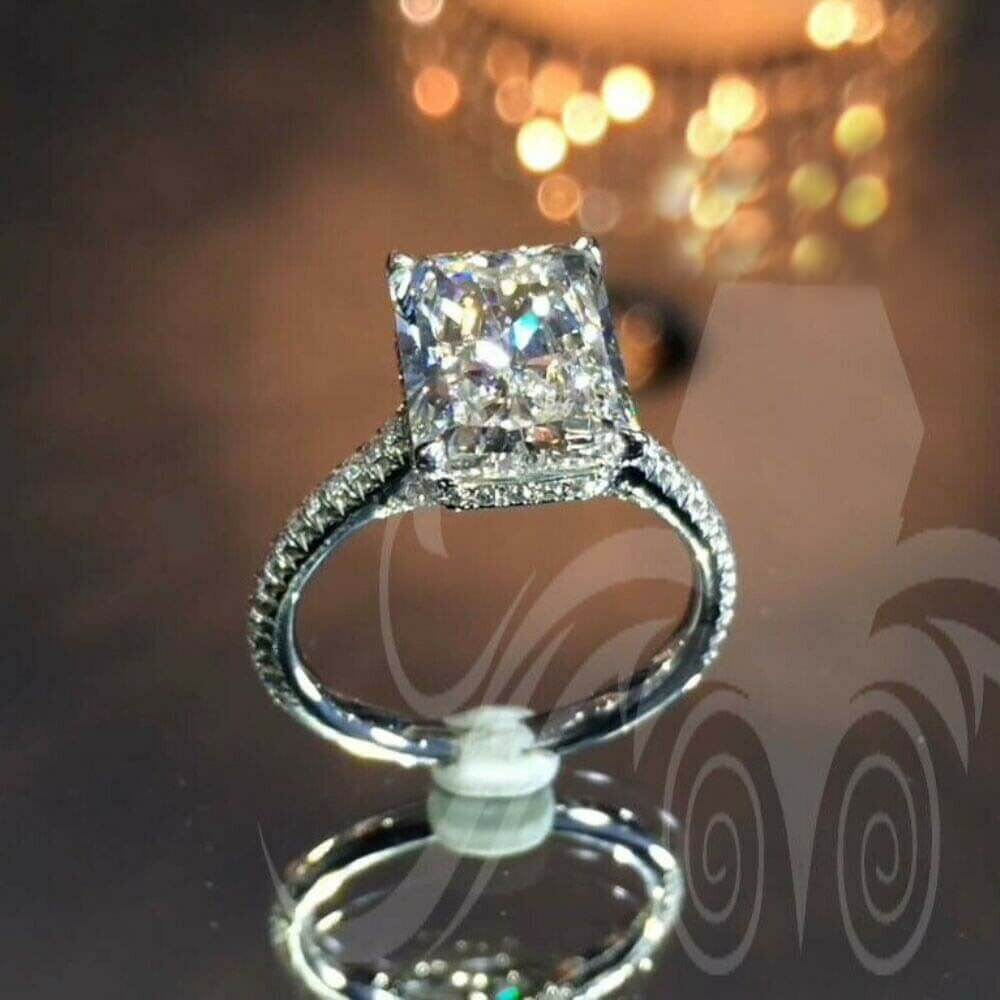 3ct radiant cut moissanite engagement ring