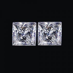 Pair Loose Moissanite Princess Brilliant Cut