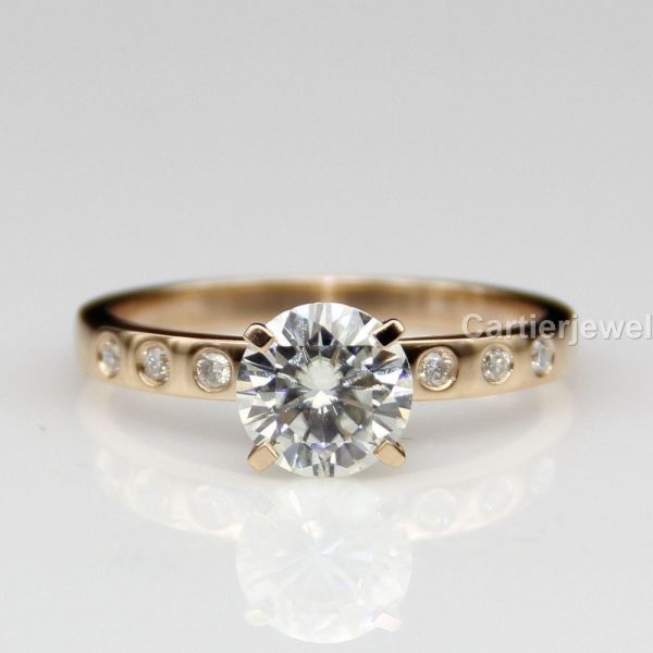 1 Ct Rose Gold Plated Moissanite Engagement Ring