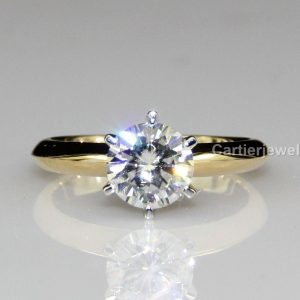 white round cut moissanite 6 prong solitaire wedding rings in silver