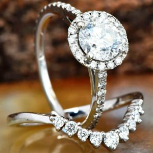 sterling silver moissanite bridal sets