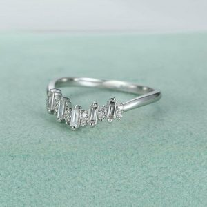 1 Ct Moissanite Emerald Cut Eternity Band
