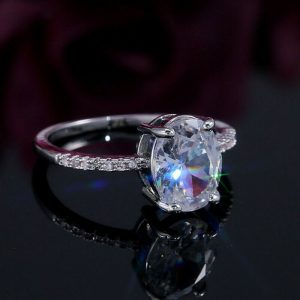 oval cut moissanite solitaire ring